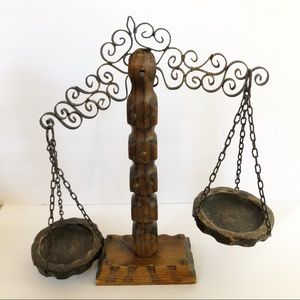 Vintage Hand Carved Scale of Justice Balance Scale